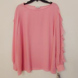 Tahari Dusty Rose Ruffle Sleeve Blouse 1X